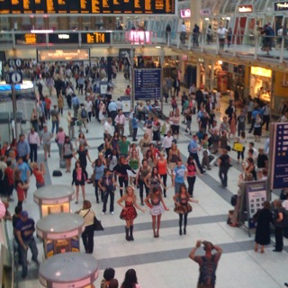 Flash mob dancing at Liverpool street station