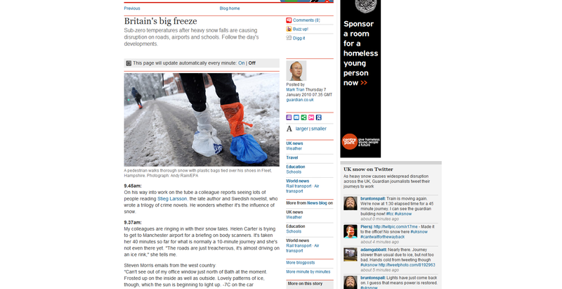 Screen shot of the Guardian big freeze blog